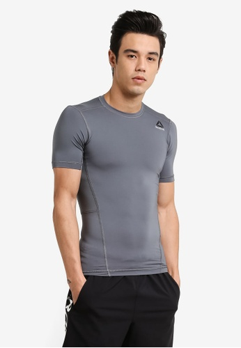Reebok grey Foundation Workout Ready Stacked Logo Short Sleeve Compression Tee RE691AA0RFRBMY_1