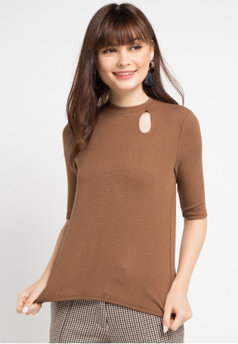 Uptown Girl brown S/S Keyhole Rib Blouse 4CE88AA670FD12GS_1