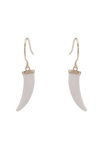Orelia London gold Enamel Tusk Drop Earrings OR747AC0SC4OMY_1