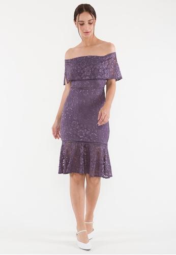BEBEBEIGE purple BebeBeige Off Shoulder Lace Slim Fit Bodycon Midi Dinner Dress 61566AA0160CD8GS_1