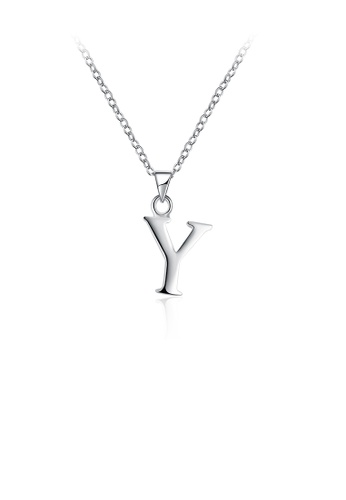 Glamorousky silver Fashion Simple Letter Y Pendant with Necklace DB43DAC9B62697GS_1