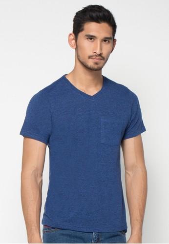 H&R blue Solid V Neck T-shirt HR579AA57XFYID_1
