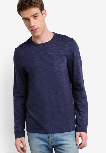 Burton Menswear London 海軍藍色 輕量暗紋長袖衫 BU964AA22FSJMY_1