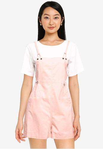 ZALORA BASICS pink Dungaree Set With T Shirt E61C5AADC1D17AGS_1