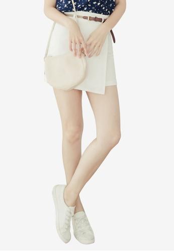Eyescream white Minimalist Wrap Mini Skirt With Braided Belt 912BDAACA9608DGS_1