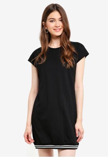 Something Borrowed black Stripe Rib Hem Tee Dress 97378AADB8D6E6GS_1