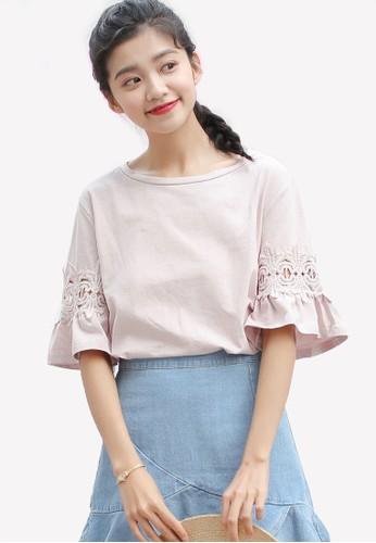 Shopsfashion pink Flare Sleeve Top SH088AA0RWYOMY_1