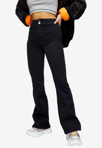 TOPSHOP black PETITE Washed Black Joni Skinny Flare Jeans 40142AA46F70AFGS_1