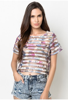 Fiona Floral See Through Cropped Blouse