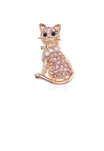 Glamorousky silver Fashion and Cute Plated Gold Cat Brooch with Cubic Zirconia 81CC0AC88446F9GS_1