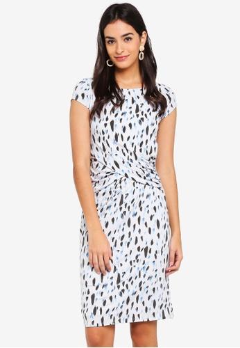 Dorothy Perkins white and multi Grey Brush Stroke Dress 4313CAA6EA042FGS_1