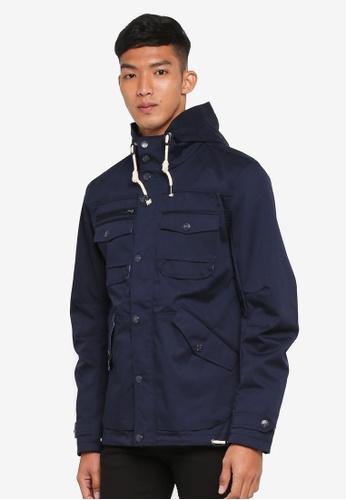 Indicode Jeans 海軍藍色 Chaim Lightweight Hooded Field Jacket D7275AA7D3AD9CGS_1