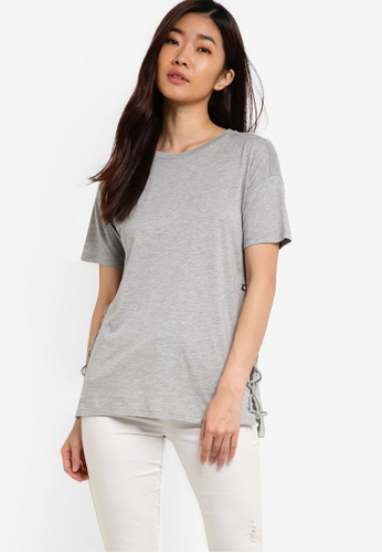 TOPSHOP grey Side Lace Up T-Shirt TO412AA13YOCMY_1