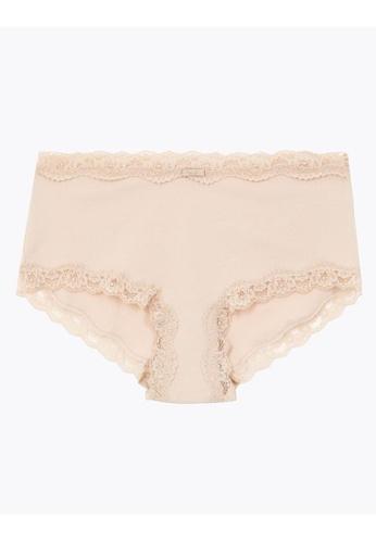 MARKS & SPENCER beige M&S Cotton Lace Trim High Rise Shorts EBC2CUS83D8803GS_1
