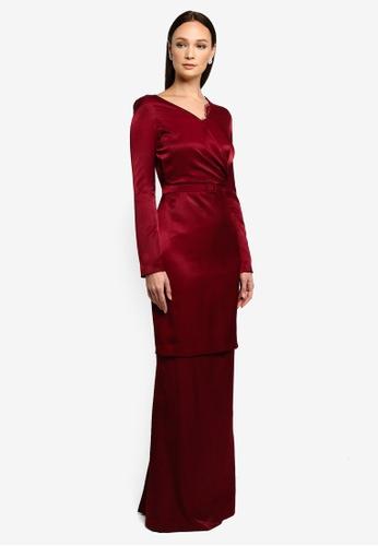NH by Nurita Harith red Selma Kurung 861E0AA469FE08GS_1