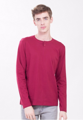 Drum 2 Button long Sleeve Tee-MRN DR425AA0RYCVMY_1