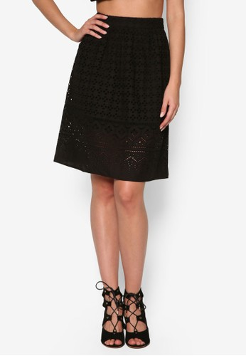 刺繡及膝短裙、 服飾、 裙子MissSelfridge刺繡及膝短裙最新折價