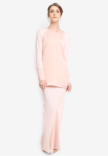 PU3 pink Nessa Pleated Sleeve Top Kurong 3BA62AA8ED94EAGS_1
