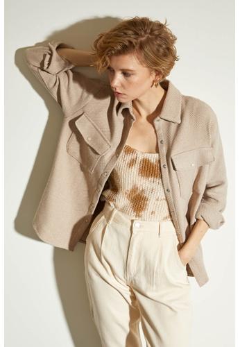 DeFacto beige Woman Woven Long Sleeve Shirt C2C63AAA20C3F3GS_1