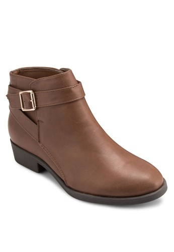 扣環帶仿皮短靴, 女esprit taiwan鞋, 鞋