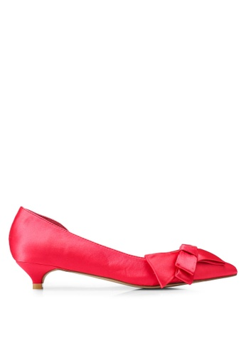 Nose 紅色 Bow Half D'Orsay Low Heel Pumps CA8BFSH5B84F34GS_1