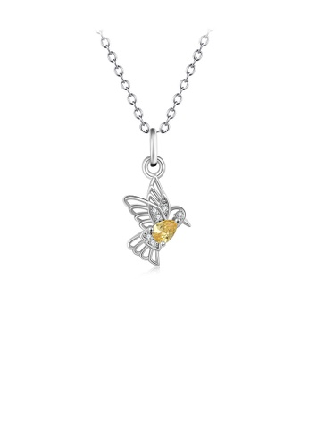 Glamorousky white 925 Sterling Silver Fashion Simple Bird Pendant with Yellow Cubic Zirconia and Necklace DECCEAC101C982GS_1