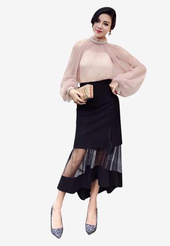 Lara black Women's Splice Net Yarn Side Slit Midi Skirt 3C4EEAA4FD846FGS_1