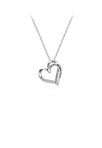 Glamorousky white 925 Sterling Silver Simple Sweet Double Heart Pendant with Cubic Zirconia and Necklace BF963ACD801F8FGS_1