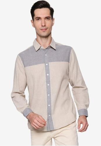 ZALORA BASICS beige Contrast Long Sleeve Shirt 739A1AACFF9745GS_1