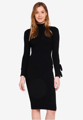 Guess black Sabine High Neck Midi Sweater Dress 467D0AA3BEFD77GS_1