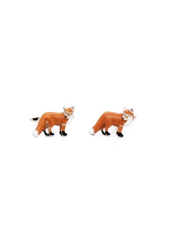 Red Stag And Hind brown Red Stag And Hind Rhodium Red Fox Cufflinks E0F2CAC74617D9GS_1