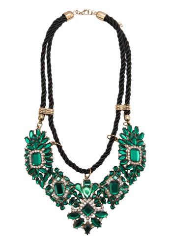 Faux esprit 高雄Emerald Flower Rope Necklace, 飾品配件, 項鍊
