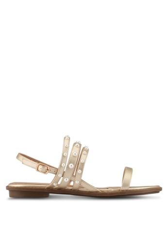 Velvet gold Pearl Studded Flat Sandals C690FSH4E9653CGS_1