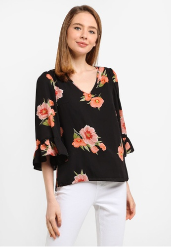 Dorothy Perkins black Black Floral Flute Sleeves Top 9593EAA9C72FE4GS_1