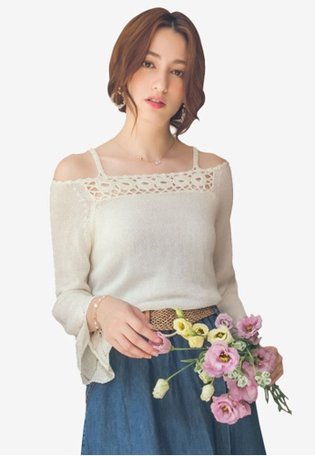 Yoco white Cutout Knit Top C0A7AAAA7328C9GS_1