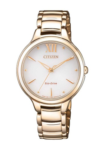 CITIZEN gold Citizen Eco-Drive White and Gold Stainless Steel Watch C2923AC6B352B6GS_1