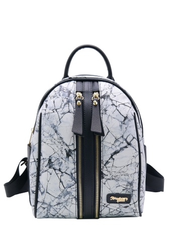 STRAWBERRY QUEEN grey Strawberry Queen Dual Front Zipper Backpack - Candy (Marble P, Grey) B9DBFAC29CF5D7GS_1