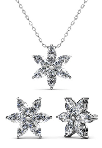 Her Jewellery silver Petal Flower Set (White Gold) - Made with Premium grade crystals from Austria B6276ACD79D5C2GS_1