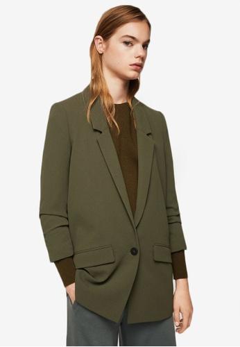 Mango green Ruched Sleeves Blazer MA193AA0ROPKMY_1