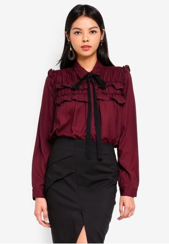 Vero Moda red Carmen Long Sleeve Shirt 3CA6DAABE5F4B2GS_1