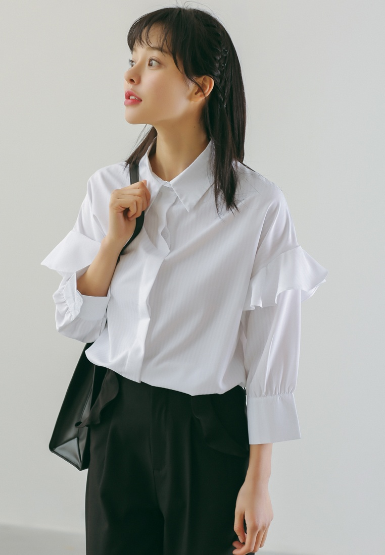 in Sleeve White Ruffles Blouse Shopsfashion White p0w7qnCx