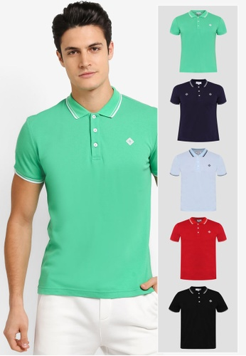 JAXON black and red and green and blue and multi and navy 5 Pack Tipping Logo Polo Shirt JA219AA0T28DMY_1