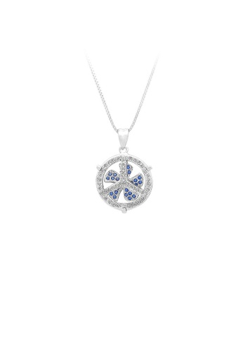 Glamorousky silver 925 Sterling Silver Windmill Pendant with Blue Cubic Zircon and Necklace B950AAC14EEC2AGS_1
