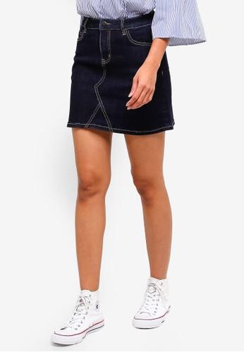 Hopeshow blue High Waist Denim Short Skirt F29E8AA3FC609EGS_1