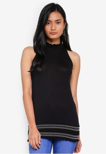 Dorothy Perkins black Black Shirred Hem Top 431DDAA45F58D2GS_1