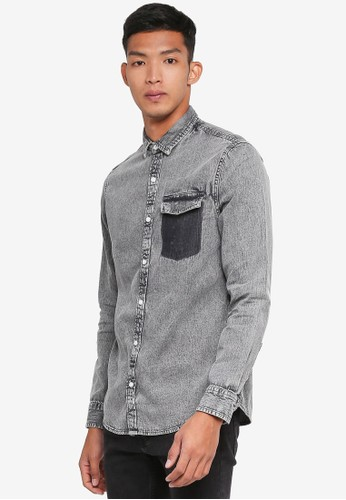 Only & Sons grey Neville Denim Shirt 6C3F1AACB38EE1GS_1