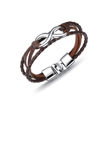 Glamorousky silver Simple Personality Infinity Symbol Brown Leather Multilayer Bracelet 2ABE4AC19B1755GS_1