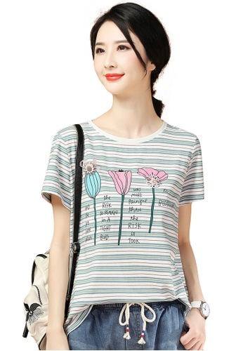 A-IN GIRLS white and blue Three-Dimensional Appliqué Crew Neck Striped T-Shirt 119A4AAA55CF38GS_1