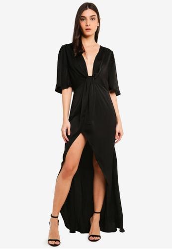 OVS black Dress With Split 3AFD6AAA60C55EGS_1