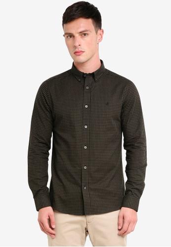 Burton Menswear London 綠色 長袖格紋牛津襯衫 E6081AA9A20888GS_1